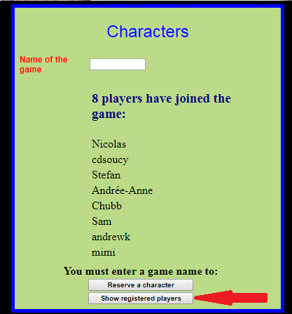 List of registered players for a game