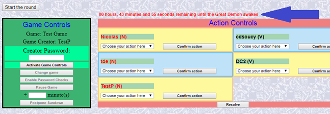 Actions page opening up